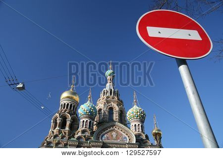 Traffic signs in russia st petersburg in the sunshine