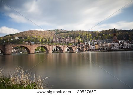 Heidelberg view to old bridge castle and church