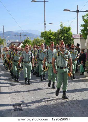 Alora Spain March 25 2016: Foreign Legion soldiers arrive to take part in Easter processions. Alora Spain March 25 2016