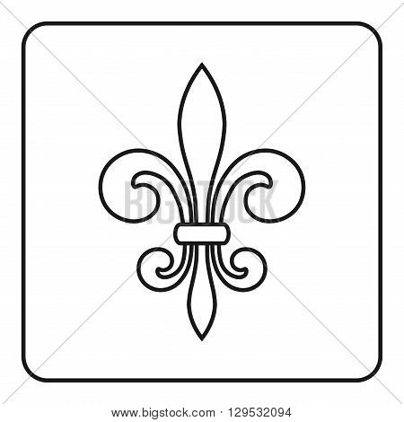 Fleur de Lis symbol. Fleur-de-Lis sign. Royal french lily. Heraldic icon for design logo or decoration. Elegant flower outline design. Gray element isolated on white background. Vector illustration