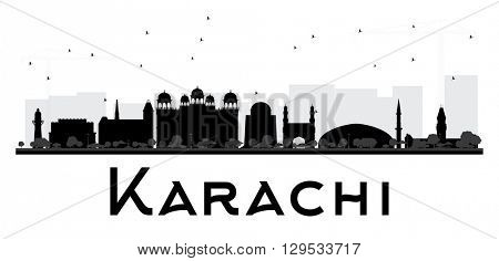 Karachi City skyline black and white silhouette. Simple flat concept for tourism presentation, banner, placard or web site. Business travel concept. Cityscape with landmarks