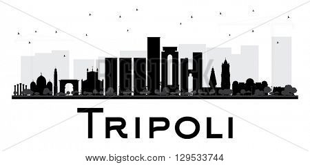 Tripoli City skyline black and white silhouette. Simple flat concept for tourism presentation, banner, placard or web site. Business travel concept. Cityscape with landmarks