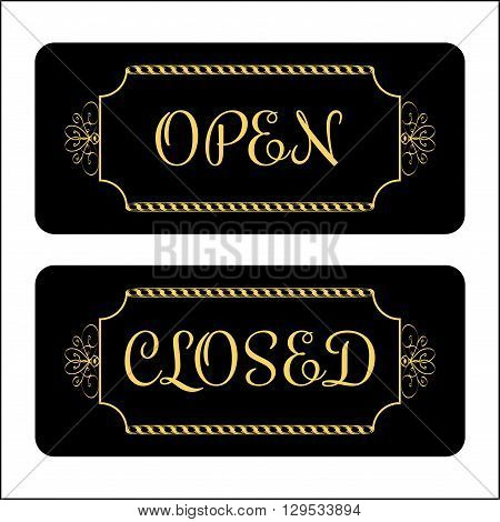 Open and Closed door Sign. Effect of gold. Print symbols for store shop cafe hotel business office etc. Informative icon. Vintage signboard isolated on white background. Stock Vector illustration