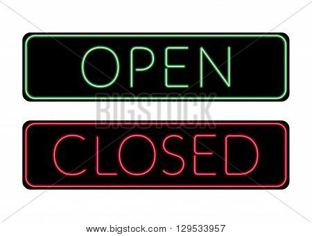 Open and Closed door neon Sign. Print with light symbol for store shop cafe hotel office. Information icon. Bright green and red signboard isolated on white background. Stock Vector illustration