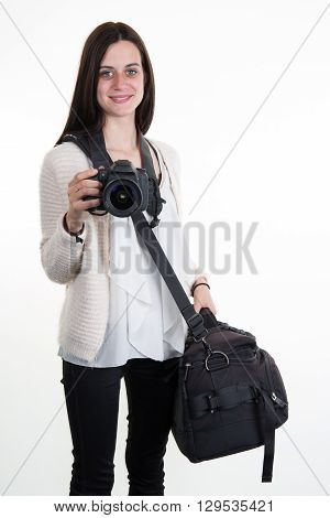 a  cute Woman with a Photographer's equipment