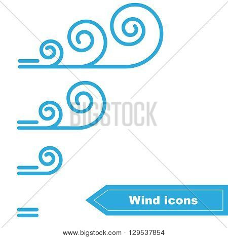 Collection of Vector Wind icons. Wind force