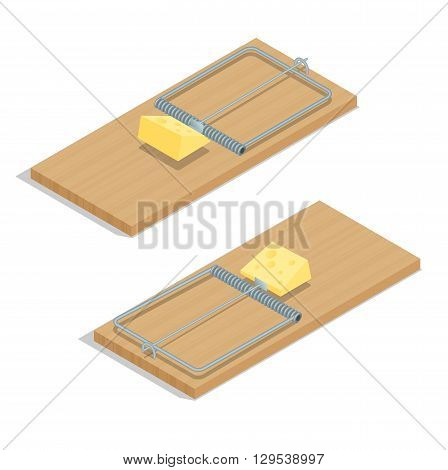 Mousetrap with cheese Flat 3d vector isometric illustration