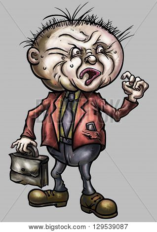 Illustration aggrieved teacher businessman or office worker with briefcase in hypertrophied grotesque cartoon style