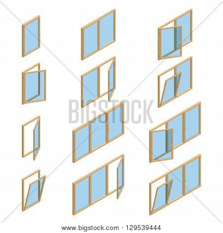 Vector collection of various windows types. For interior and exterior use. Flat 3d vector isometric style