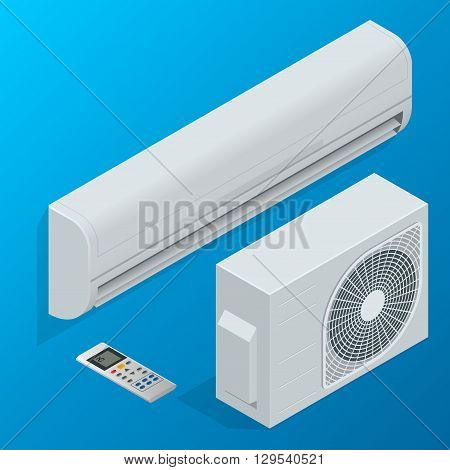 Air conditioner system. Flat 3d isometric vector illustration