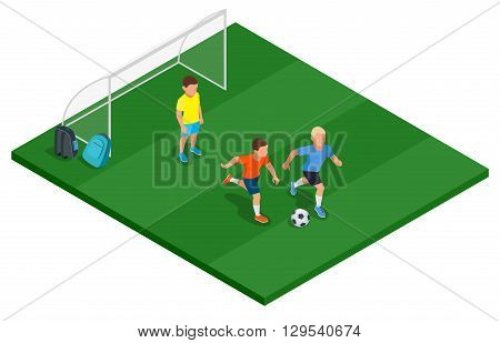 Children playing soccer outdoors. Flat 3d vector isometric illustration