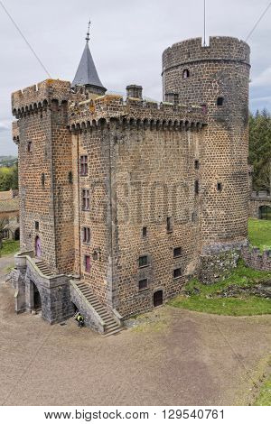 PONTGIBAUD FRANCE May 6 2016 : Chateau-Dauphin is a medieval castle in Pontgibaud Puy-de-Dome. The castle owes its name to the coat of arms of the Count of Auvergne who built it in the 12th century.