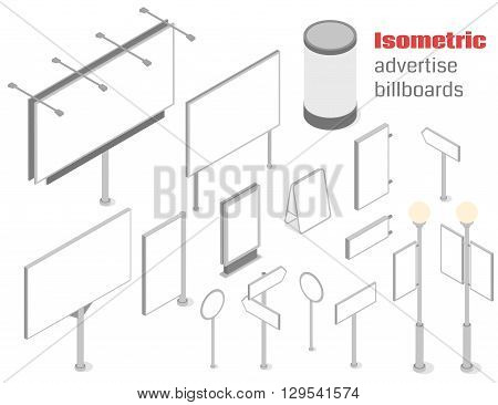 Isometric advertise billboards and signboards set. Vector illustration