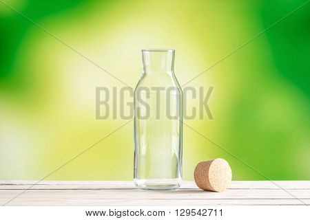 Empty Glass Bottle With A Cork