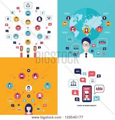 Social Network Technology Banner set User Communications on web concept Vector illustration