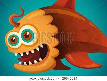 Comic fish illustration. Vector illustration.