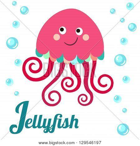 Cute animal alphabet. J letter. Cute cartoon Jellyfish. Alphabet design in a colorful style.