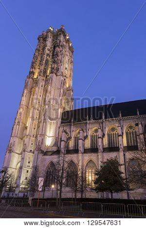 Saint Rumbold's Cathedral in Mechelen in Belgium during Christmas