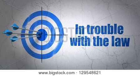 Success law concept: arrows hitting the center of target, Blue In trouble With The law on wall background, 3D rendering