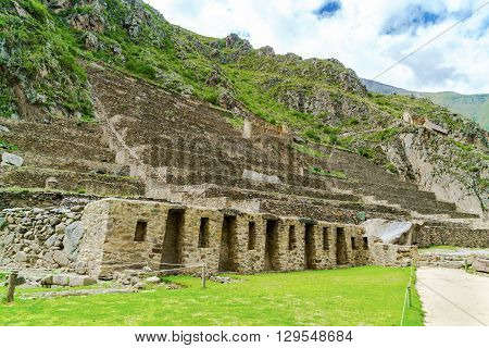 The amazing terraces of ruins Ollantaytambo at the Sacred Valley of the Incas near Cusco Peru
