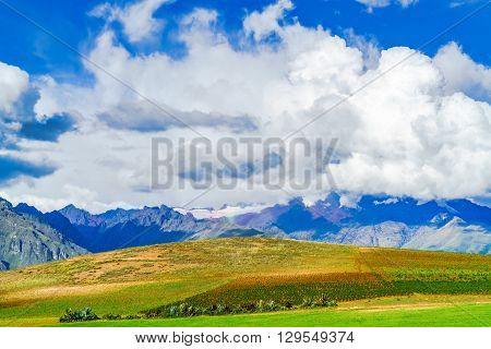 View of mountain in the Sacred Valley of the Incas near the city of Cusco Peru