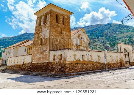 Bell tower at the Temple of Checacupe District near the city of Cusco in Peru