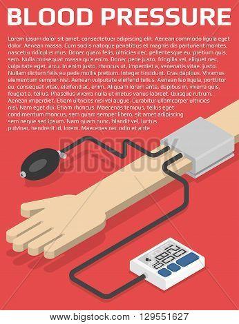 Medical flyer design template. Blood pressure monitor on hand. Isometric vector illustration