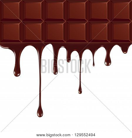 Melted chocolate dripping on white background. vector illustration.