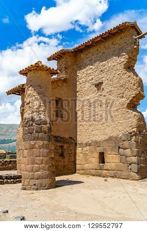 Temple of Wiracocha or Temple of Raqchi an Inca Archaeological Site in Cusco Region Peru