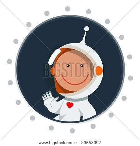 Cute flat style astronaut with heart label. Postcard for valentine's day as cosmic love sign. Spaceman eps. Space vector illustration.