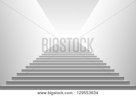 Stairs. Detailed Illustration Of White Stairs, Eps10 Vector