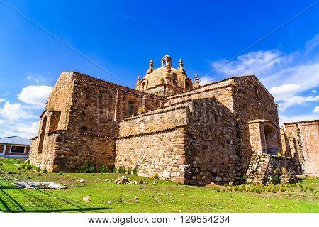 Santiago de Pupuka Church in Pukara 66 miles north of Puno Peru