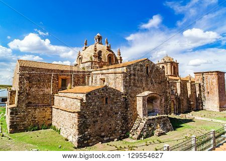 High view of Dome of Pupuka Church in Pukara 66 miles north of Puno Peru