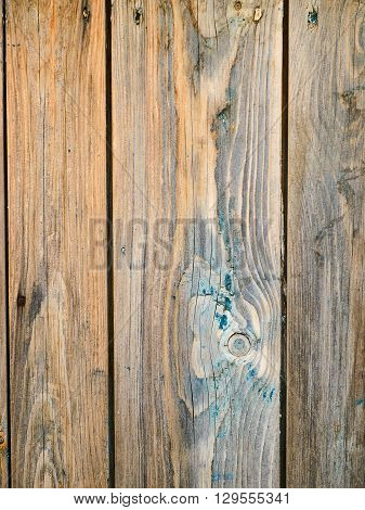Shabby wooden planks with remains of paint closeup