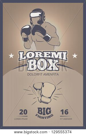 Boxing competition vintage vector poster. Boxing banner, boxing vintage fight, boxing champion illustration