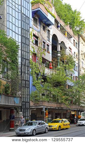 VIENNA AUSTRIA - JULY 12: Hundertwasser House in Wien on JULY 12 2015. Famous House by Architect Hundertwasser in Vienna Austria.