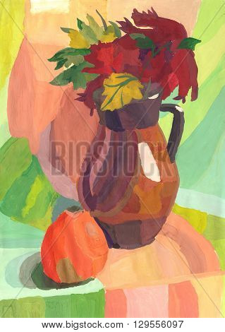 Still Life with Jug and apple. Watercolor painting