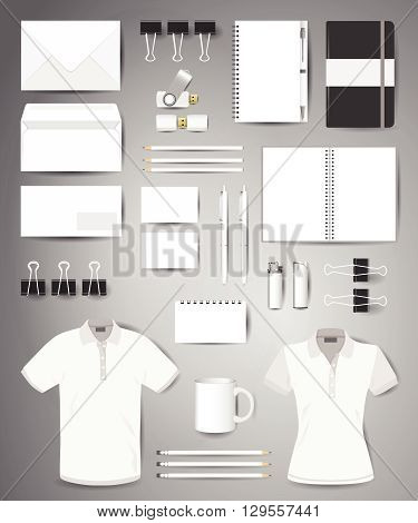 Stock vector mockup set of printing materials template for branding identity