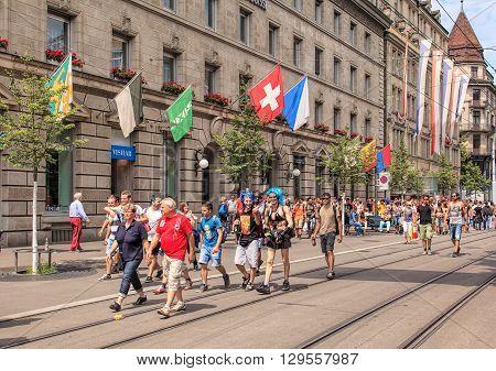 Zurich, Switzerland - 2 August, 2014: Bahnhofstrasse street on the day of the Street Parade. The Street Parade is the most attended technoparade in Europe it takes place in Zurich Switzerland.