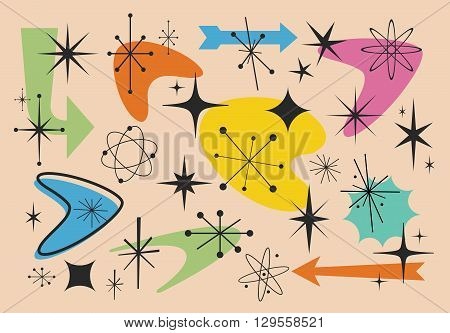 Vector illustration of different shapes from the fifties years