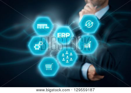 Enterprise resource planning ERP concept. Businessman think about ERP business management software for collect store manage and interpret business data like customers HR production logistics financials and marketing.