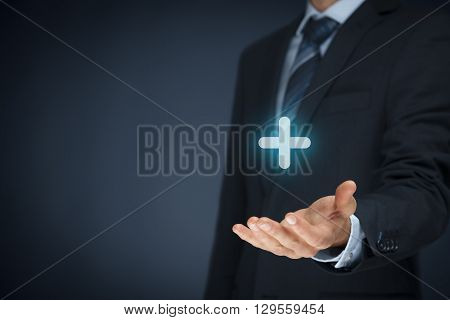 Businessman offer positive thing (like benefits personal development social networking) represented by plus sign.