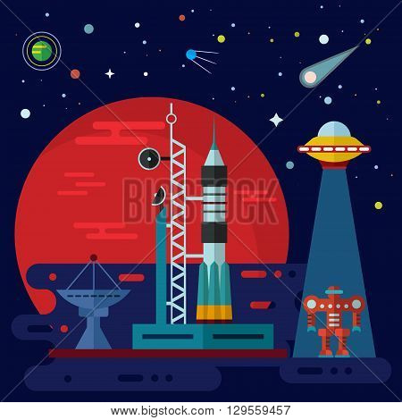Vector flat space elements with rocket launch space station planets ufo and robot