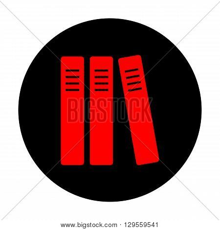 Row of binders, office folders icon. Red vector icon on black flat circle.