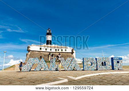 BAHIA, BRAZIL - CIRCA MAY 2016: Farol da Barra Light House in Salvador, Bahia, Brazil