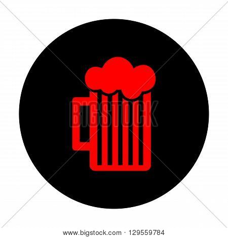 Glass of beer icon. Red vector icon on black flat circle.