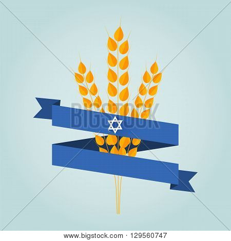 Jewish holiday shavuot banner with wheat ear.