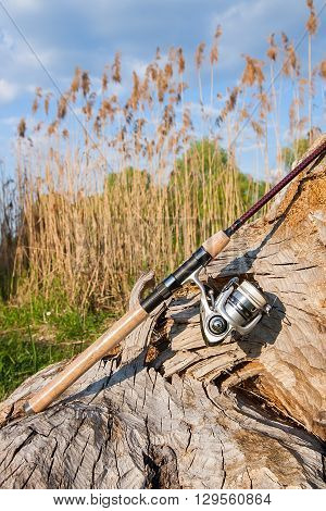 Fishing Rod And Reel On The Natural Background.