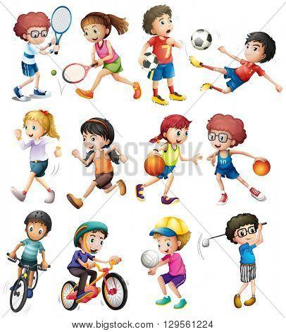 Children doing different sports illustration