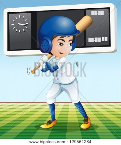 Baseball player with baseball bat in the field illustration